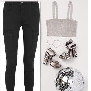 Sateen Skinny Cargo Pants - NWT